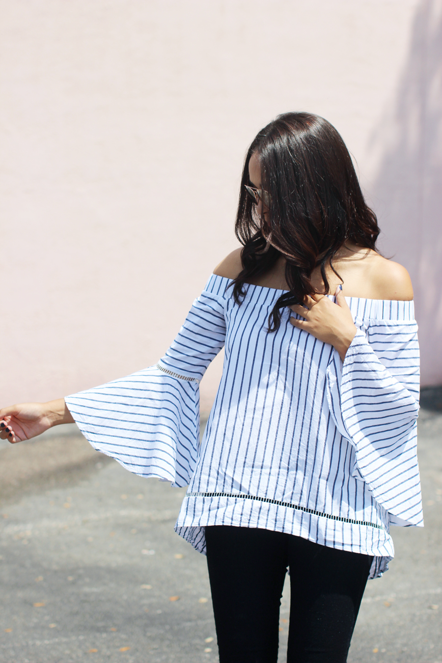 Fixin to Thrill | Bell Sleeves for Fall, striped blouse